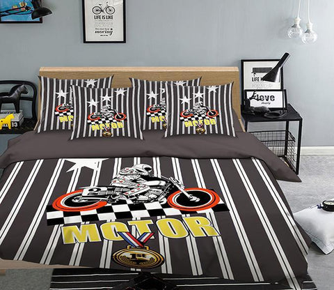 3D Motorcyclist Stripes 313 Bed Pillowcases Quilt