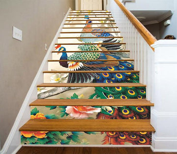 3D Flowers And Peacocks 1274 Stair Risers Wallpaper AJ Wallpaper