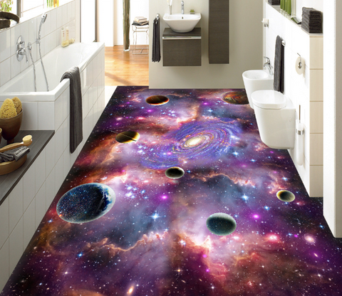 3D Bright Purple Space Floor Mural - AJ Walls - 1