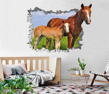 3D Lawn Horses 193 Broken Wall Murals Wallpaper AJ Wallpaper