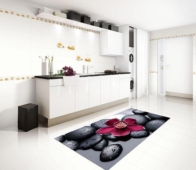 3D Stones And Flower 17 Kitchen Mat Floor Mural Wallpaper AJ Wallpaper