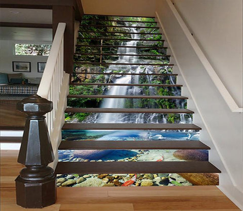 3D Creek Swans Fishes 1626 Stair Risers