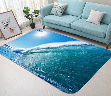 3D Blue Sea High Wave 127 Non Slip Rug Mat Mat AJ Creativity Home