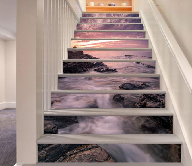3D Sea Coast Sunset 27 Stair Risers