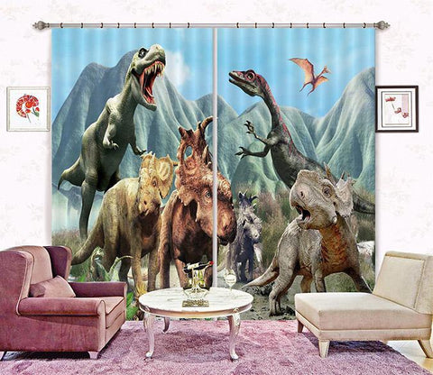3D Mountains Dinosaurs 2243 Curtains Drapes