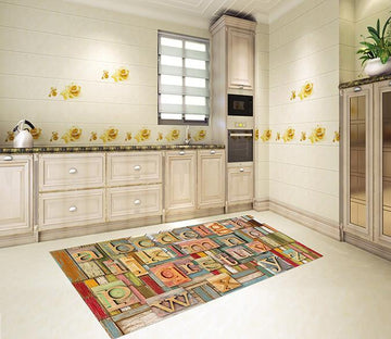 3D Wood Boards Alphabets 140 Kitchen Mat Floor Mural Wallpaper AJ Wallpaper