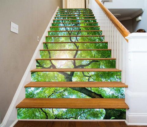 3D Lush Green Tree 1013 Stair Risers Wallpaper AJ Wallpaper