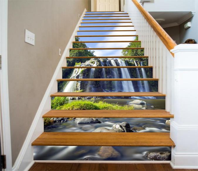 3D Beautiful Waterfall 409 Stair Risers