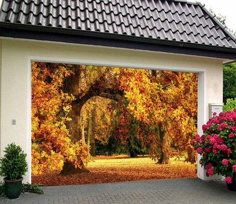 3D Autumn Yellow Trees 22 Garage Door Mural Wallpaper AJ Wallpaper