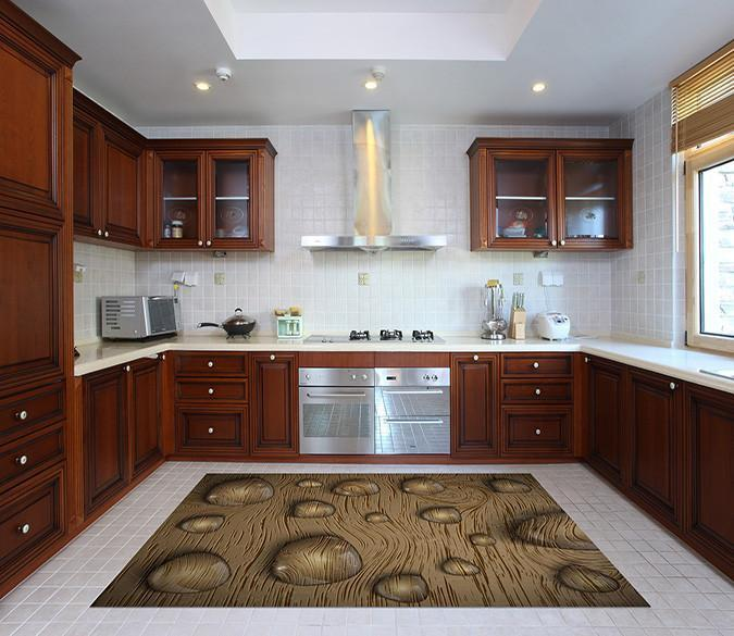 3D Wood Board Water Drops 166 Kitchen Mat Floor Mural Wallpaper AJ Wallpaper