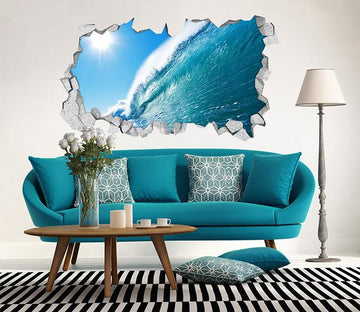 3D Blue Ocean High Wave 113 Broken Wall Murals Wallpaper AJ Wallpaper