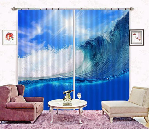 3D Sea Huge Wave 23 Curtains Drapes Wallpaper AJ Wallpaper