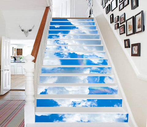 3D Blue Sky White Clouds 571 Stair Risers