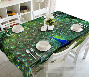 3D Opening Tail Peacock 981 Tablecloths Wallpaper AJ Wallpaper