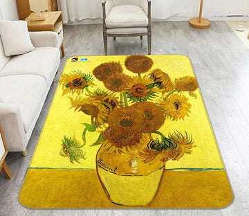 3D Oil Painting Sunflowers Vase 132 Non Slip Rug Mat Mat AJ Creativity Home