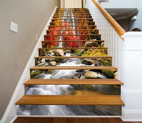 3D Waterfall Autumn Scenery 899 Stair Risers
