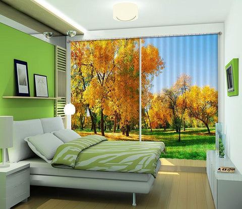 3D Autumn Grassland Trees 213 Curtains Drapes Wallpaper AJ Wallpaper