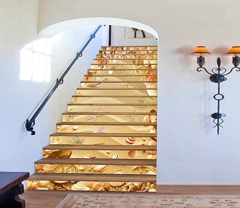 3D Beach Treasures Compass 425 Stair Risers Wallpaper AJ Wallpaper