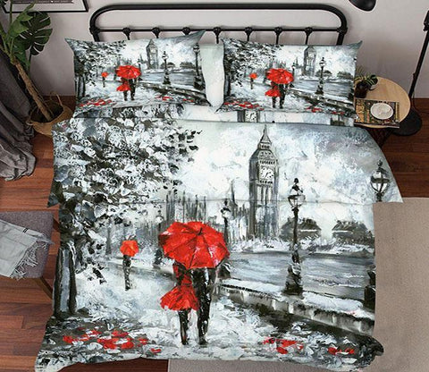 3D London Street Painting 22 Bed Pillowcases Quilt