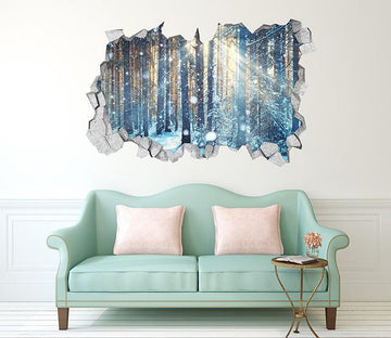 3D Snowing Forest Sunshine 379 Broken Wall Murals Wallpaper AJ Wallpaper