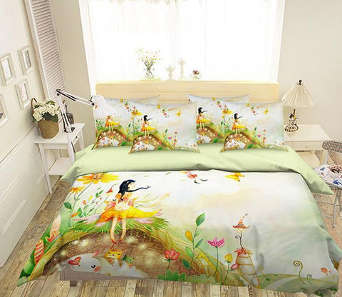 3D Flowers Elves 336 Bed Pillowcases Quilt Wallpaper AJ Wallpaper