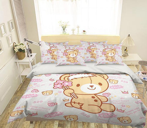 3D Lovely Bear Doll 331 Bed Pillowcases Quilt Wallpaper AJ Wallpaper