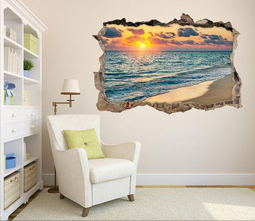 3D Sea Sunset 043 Broken Wall Murals Wallpaper AJ Wallpaper
