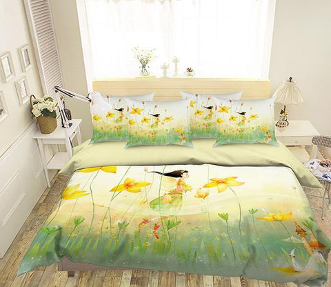 3D Flying Flowers Elf 338 Bed Pillowcases Quilt Wallpaper AJ Wallpaper