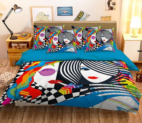 3D Women Stripes Pattern 330 Bed Pillowcases Quilt Wallpaper AJ Wallpaper
