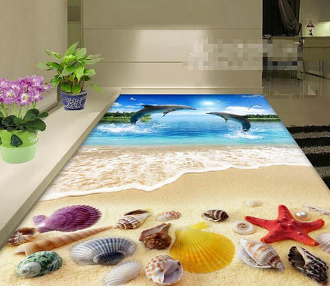 3D Beach Flying Dolphins Floor Mural Wallpaper AJ Wallpaper 2