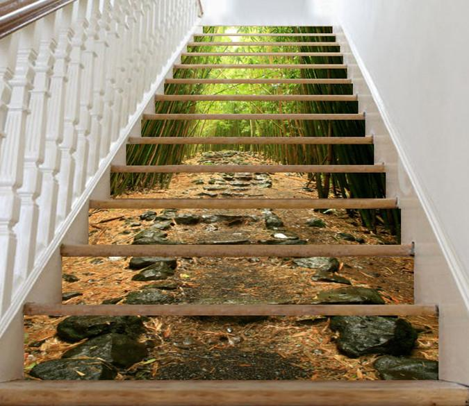 3D Bamboo Forest Stones Stairs 34 Stair Risers