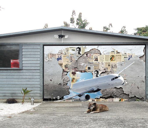 3D Aircraft Fly Through Wall 465 Garage Door Mural Wallpaper AJ Wallpaper