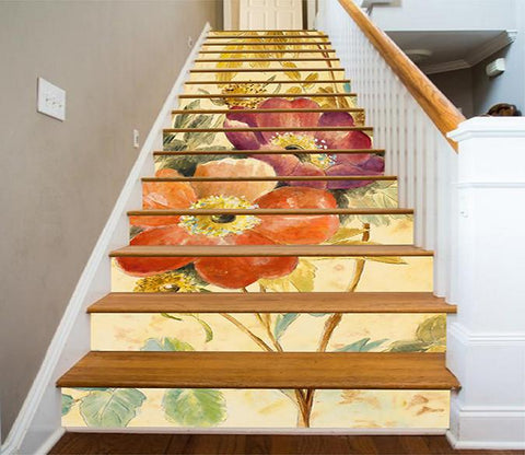 3D Flowers Painting 1165 Stair Risers Wallpaper AJ Wallpaper