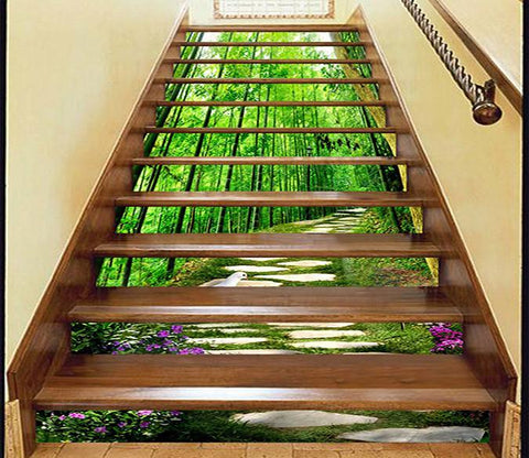 3D Bamboos Stone Road Bird 942 Stair Risers Wallpaper AJ Wallpaper