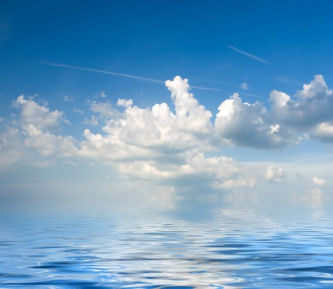 Blue Ocean White Clouds Wallpaper AJ Wallpaper