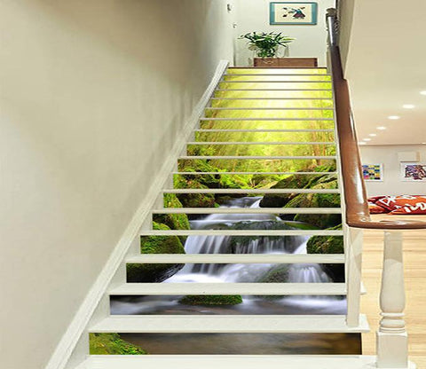 3D Forest Creek Bright Sun 702 Stair Risers