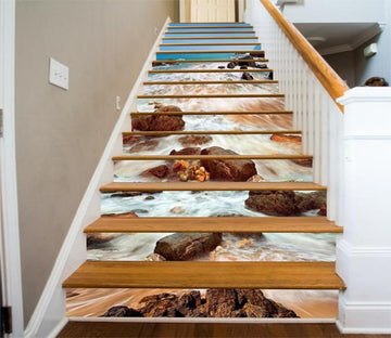 3D Sea Beach Stones 691 Stair Risers Wallpaper AJ Wallpaper