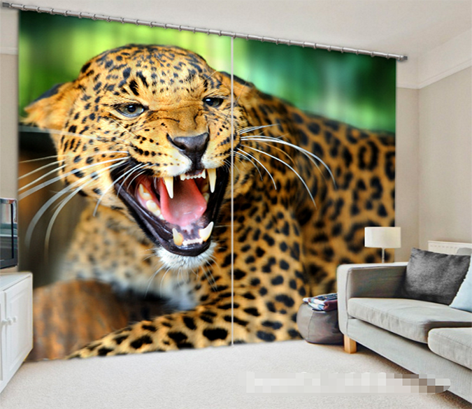 3D Lion Leopard 1082 Curtains Drapes Wallpaper AJ Wallpaper