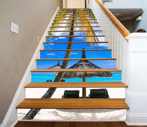3D Beach Scenery 1453 Stair Risers Wallpaper AJ Wallpaper