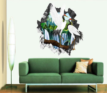 3D Waterfall Cranes 18 Broken Wall Murals Wallpaper AJ Wallpaper