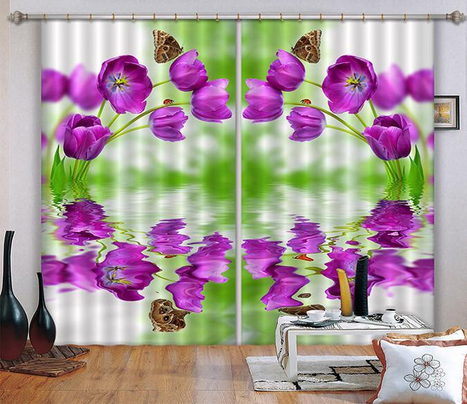 3D Flowers Butterflies Curtains Drapes Wallpaper AJ Wallpaper