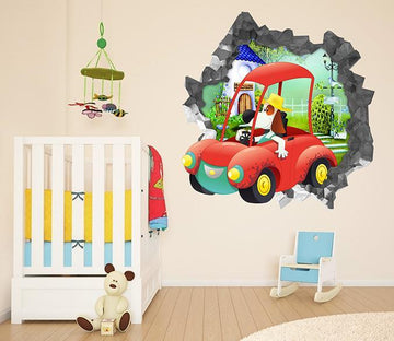 3D Cartoon Dog Car 89 Broken Wall Murals Wallpaper AJ Wallpaper