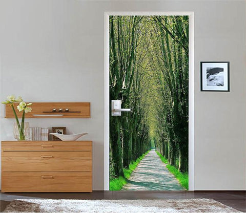 3D Roadside Bare Trees 02 Door Mural Wallpaper AJ Wallpaper