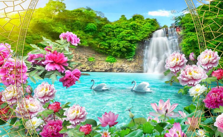 Poetic Landscape Flowers Wallpaper AJ Wallpaper 1