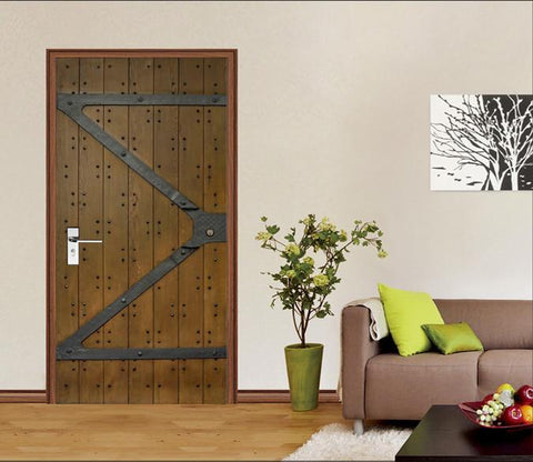 3D Gate Nailed Planks Door Mural Wallpaper AJ Wallpaper