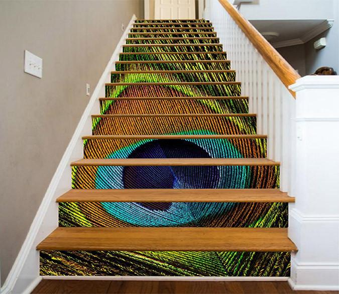 3D Peacock Tail Feather 1109 Stair Risers Wallpaper AJ Wallpaper