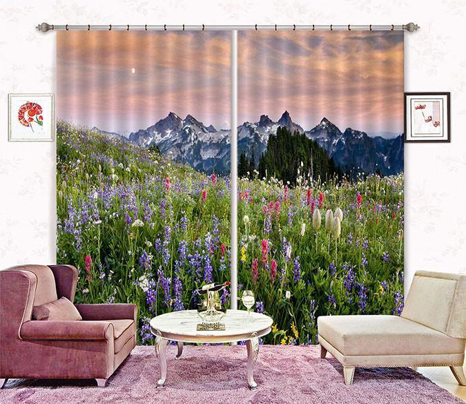 3D Mountain Flowers 210 Curtains Drapes Wallpaper AJ Wallpaper