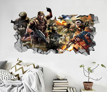 3D Battlefield Warriors 5 Broken Wall Murals Wallpaper AJ Wallpaper