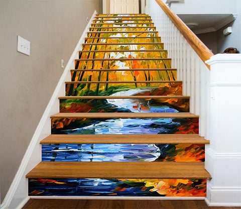 3D Forest River Painting 1100 Stair Risers