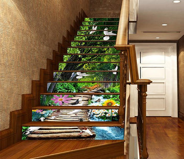 3D Forest Bridge Animals 1152 Stair Risers Wallpaper AJ Wallpaper